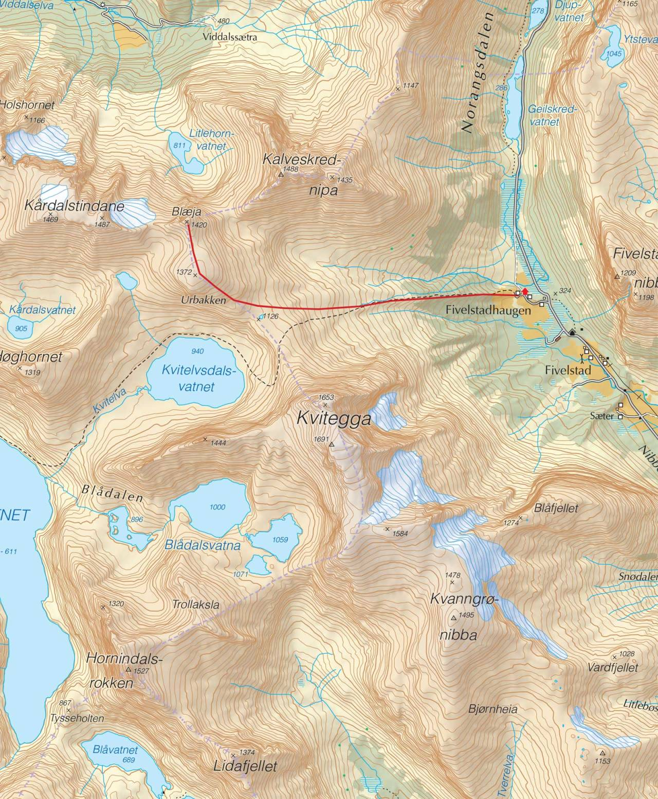 Kart over Blæja med inntegnet rute. Fra Trygge toppturer.