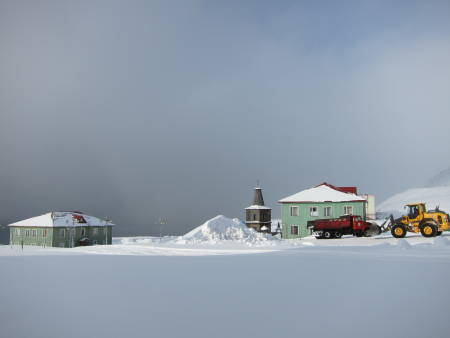 De eldste husene i Barentsburg. Foto: Vegard Aasland Nymoen