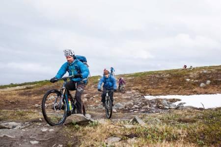 En kronglete sti: Trygve Nygård og Kyrre Berg i god driv på steinet sti ned fra vidda. Foto: Marte Stensland Jørgensen