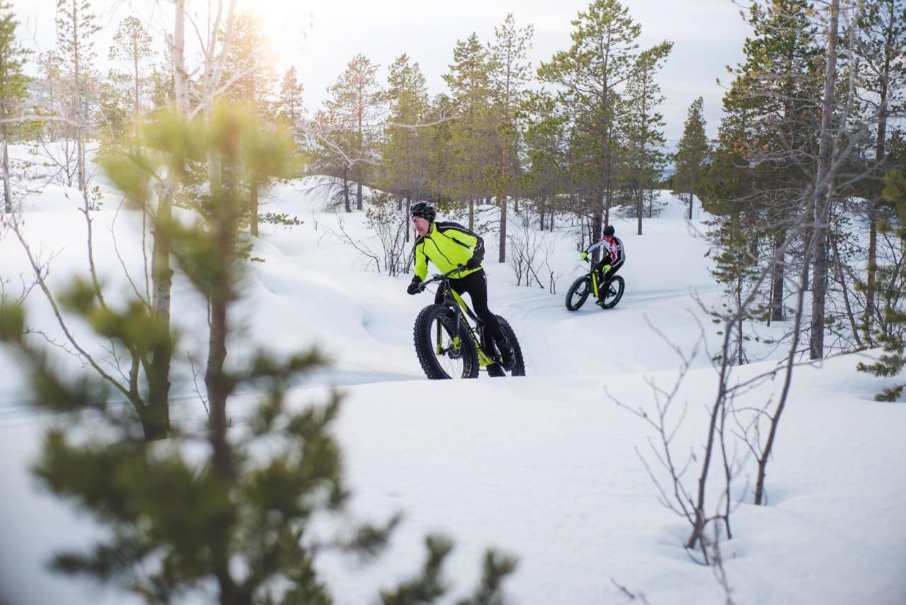 VINTERSYKLING: Jo lenger det går etter siste snøfall, jo flere og bedre blir stiene.Foto: Sjur Melsås