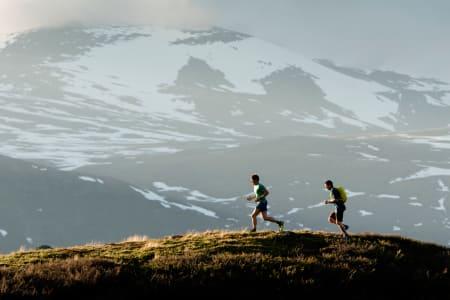 I STEGET: Erlend Sande og Tore Meirik tester terrengløpe på myk fjellsti. Foto: Martin I. Dalen