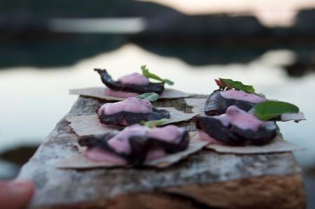 Kval med tyttebærdressing er kanskje ikkje noko du serverer kvar dag. Men er du i Lofoten, fiksar du det òg. Foto: Sigrid Henjum