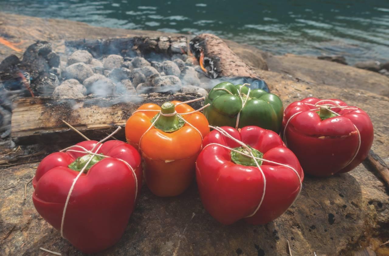 FARGERIKT: Finn paprika i alle fargar og fyll opp med godsaker. Foto: Kjell Erik Reinhardtsen