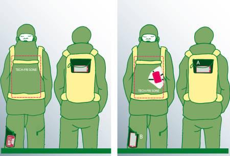 SKREDSØKER: Dersom du vel å gå med sendar/mottakaren i ei lomme på buksa må du ha smarttelefon i ryggsekken for å unngå forstyrring dersom du skal søke. Har du sendar/mottakaren i bæreselen på brystet kan du velje om du vil ha smarttelefonen i ryggsekken eller lårlomma. Illustrasjon: Joar Christoffersen