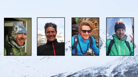 DØDE I SUNNDALSFJELLA: Yngve Dalqvist, Ola Inge Drøpping, Ole Simensen og Øyvind Slørdahl fikk sine siste skidager 14. april 2014. Bilder: Matti Bernitz
