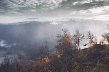 OPPHENGT: Hengekøya er i utgangspunktet laget for late sommerkvelder, men inntoget av friluftshengekøyer gjør det mulig å utvide sesongen. Foto: Bård Basberg